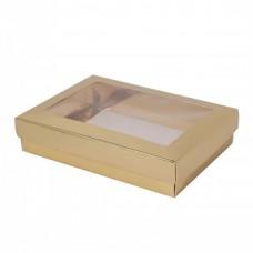 Sober eske med lokk vindu 159x112x32 mm gull (100-pakke)