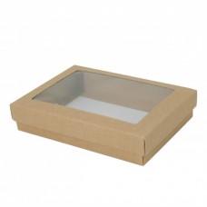 Sober eske med lokk vindu 159x112x32 mm naturlig brun (100-pakke)