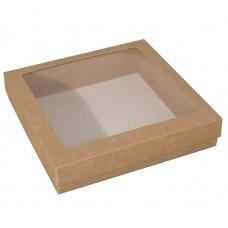 Sober eske med lokk vindu 125x125x32 mm naturlig brun (100-pakke)