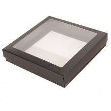 Sober eske med lokk vindu 125x125x25 mm svart (100-pakke)