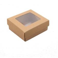 Sober eske med lokk vindu 78x82x32 mm naturlig brun (100-pakke)
