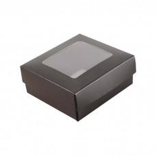 Sober eske med lokk vindu 78x82x32 mm svart (100-pakke)