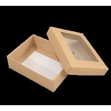 Sober eske med lokk vindu 112x82x32 mm naturlig brun (100-pakke)