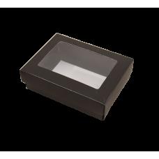Sober eske med lokk vindu 112x82x32 mm svart (100-pakke)