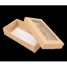 Sober eske med lokk vindu 159x78x32 mm naturlig brun (100-pakke)