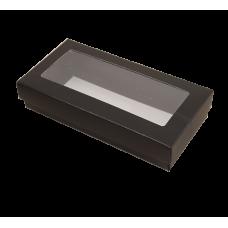 Sober eske med lokk vindu 159x78x32 mm svart (100-pakke)