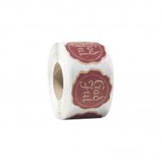Etikett God jul naturlig  brun/ rød 48 mm (500-pakke)