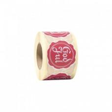 Etikett God jul hvit / rød rund 48 mm (500-pakke)
