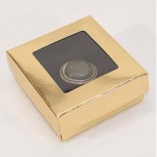Smykkeeske Sober med vindu 78x82x32 mm gull (100-pakke)