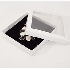 Smykkeeske Sober med vindu 160x160x32 mm hvit (100-pakke)