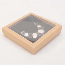 Smykkeeske Sober med vindu 160x160x32 mm naturlig brun (100-pakke)