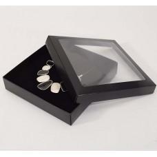 Smykkeeske Sober med vindu 160x160x32 mm svart (100-pakke)