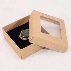 Smykkeeske Sober med vindu 78x82x32 mm naturlig brun (100-pakke)