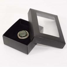 Smykkeeske Sober med vindu 78x82x32 mm svart (100-pakke)
