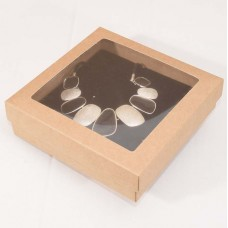 Smykkeeske Sober med vindu 125x125x32 mm naturlig brun (100-pakke)