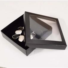 Smykkeeske Sober med vindu 125x125x32 mm svart (100-pakke)