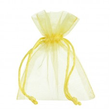 Smykkepose Organza gul 90x80+40mm (10-pakke)
