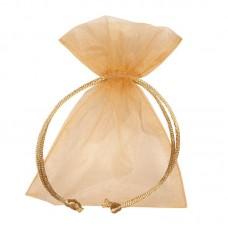 Smykkepose Organza gull 90x80+40mm (10-pakke)