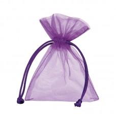 Smykkepose Organza lilla 90x80+40mm (10-pakke)