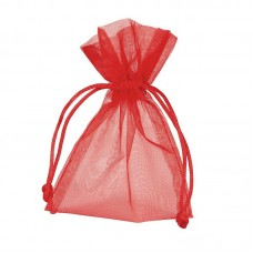 Smykkepose Organza rød 90x80+40mm (10-pakke)