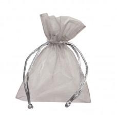 Smykkepose Organza sølv 90x80+40mm (10-pakke)