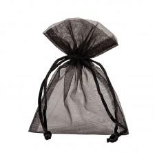 Smykkepose Organza svart 90x80+40mm (10-pakke)