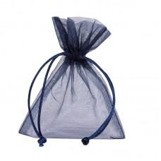 Smykkepose Organza mørk blå 90x80+40mm (10-pakke)